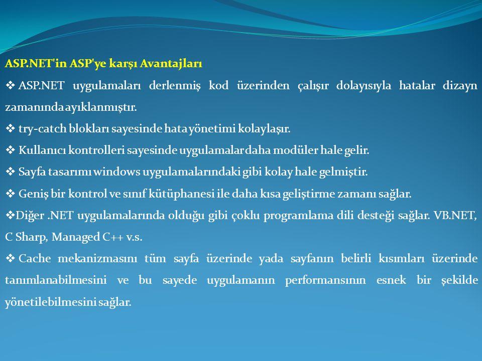 ASP.NET in ASP ye karşı Avantajları