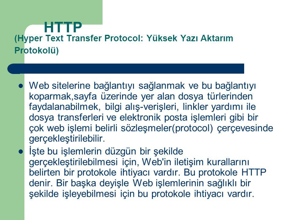 HTTP (Hyper Text Transfer Protocol: Yüksek Yazı Aktarım Protokolü)
