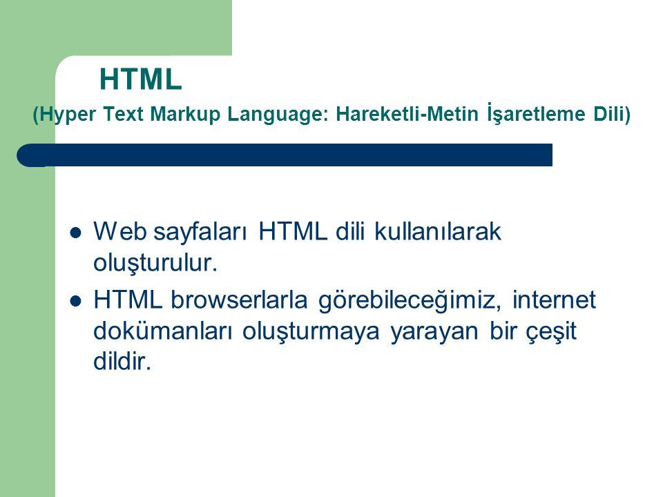 HTML (Hyper Text Markup Language: Hareketli-Metin İşaretleme Dili)