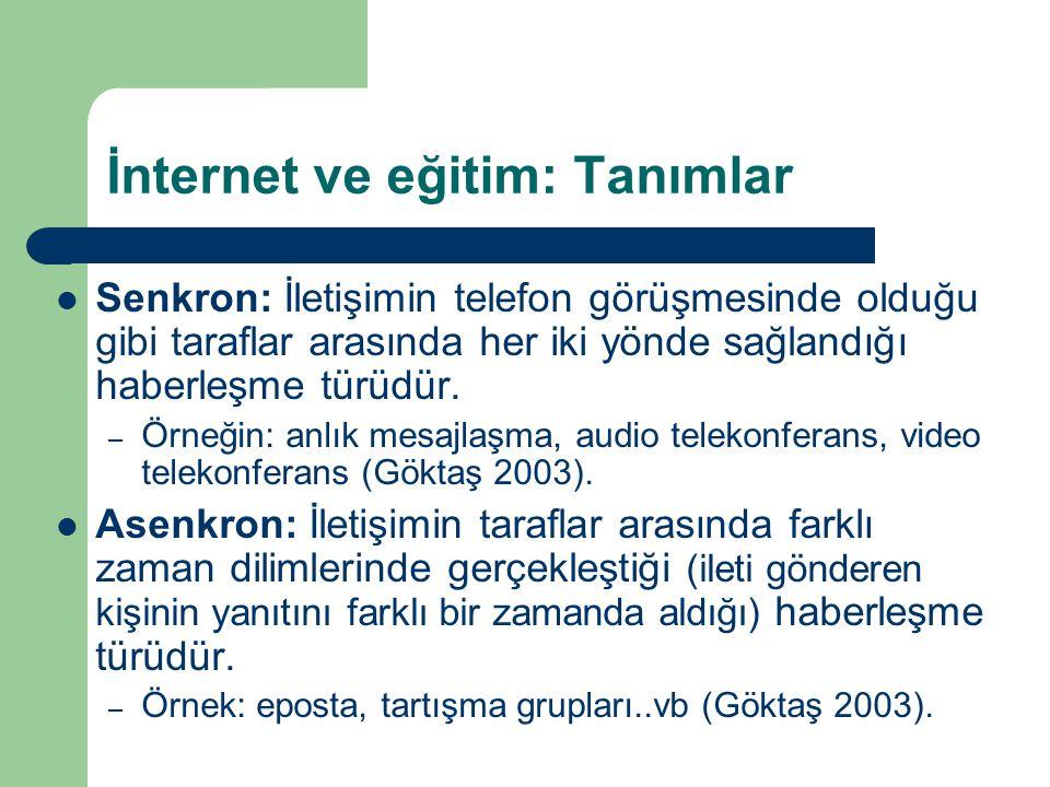 İnternet ve eğitim: Tanımlar