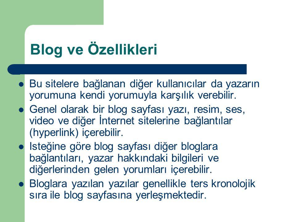 Blog ve Özellikleri Bu sitelere bağlanan diğer kullanıcılar da yazarın yorumuna kendi yorumuyla karşılık verebilir.