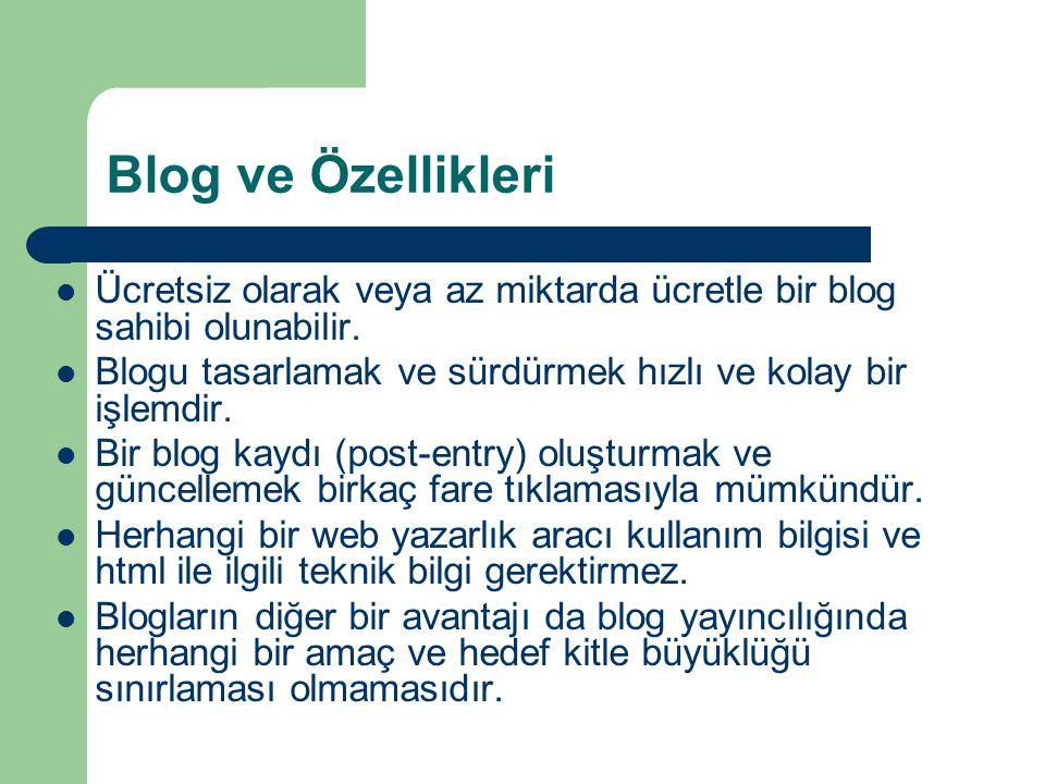 Blog ve Özellikleri Ücretsiz olarak veya az miktarda ücretle bir blog sahibi olunabilir. Blogu tasarlamak ve sürdürmek hızlı ve kolay bir işlemdir.