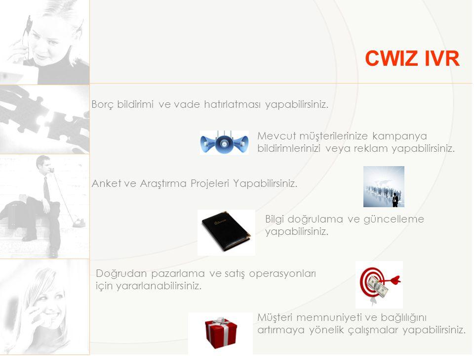 CWIZ IVR Borç bildirimi ve vade hatırlatması yapabilirsiniz.
