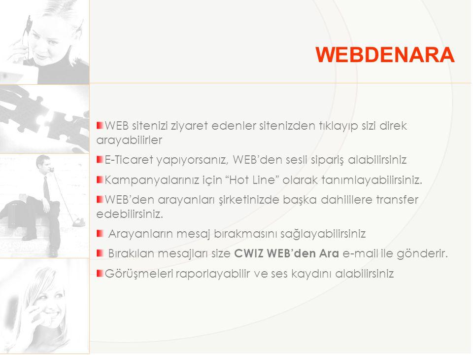 WEBDENARA WEB sitenizi ziyaret edenler sitenizden tıklayıp sizi direk arayabilirler. E-Ticaret yapıyorsanız, WEB'den sesli sipariş alabilirsiniz.