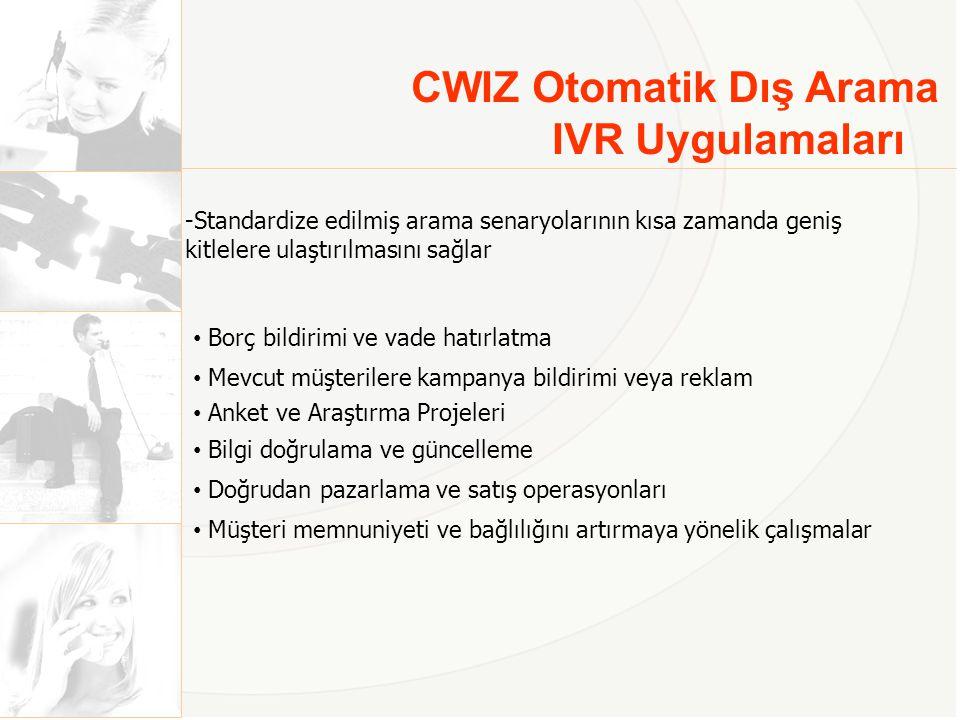 CWIZ Otomatik Dış Arama IVR Uygulamaları