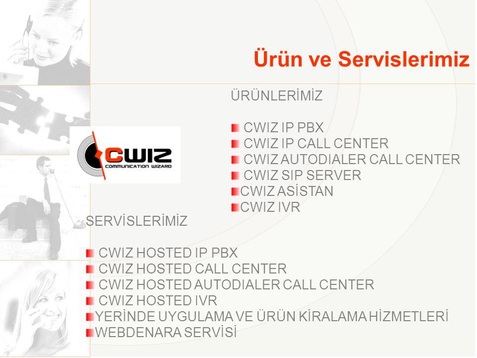 Ürün ve Servislerimiz ÜRÜNLERİMİZ CWIZ IP PBX CWIZ IP CALL CENTER