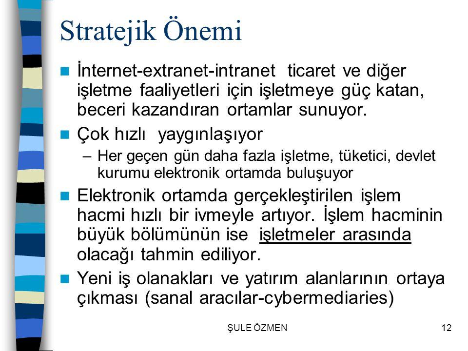 Stratejik Önemi İnternet-extranet-intranet ticaret ve diğer işletme faaliyetleri için işletmeye güç katan, beceri kazandıran ortamlar sunuyor.