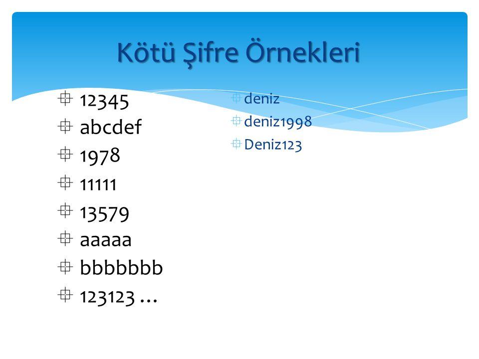 Kötü Şifre Örnekleri 12345 abcdef 1978 11111 13579 aaaaa bbbbbbb