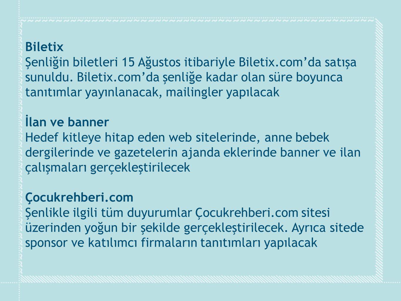 Biletix Şenliğin biletleri 15 Ağustos itibariyle Biletix.com'da satışa. sunuldu. Biletix.com'da şenliğe kadar olan süre boyunca.