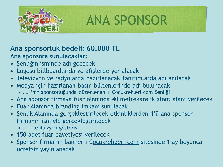 ANA SPONSOR Ana sponsorluk bedeli: 60.000 TL