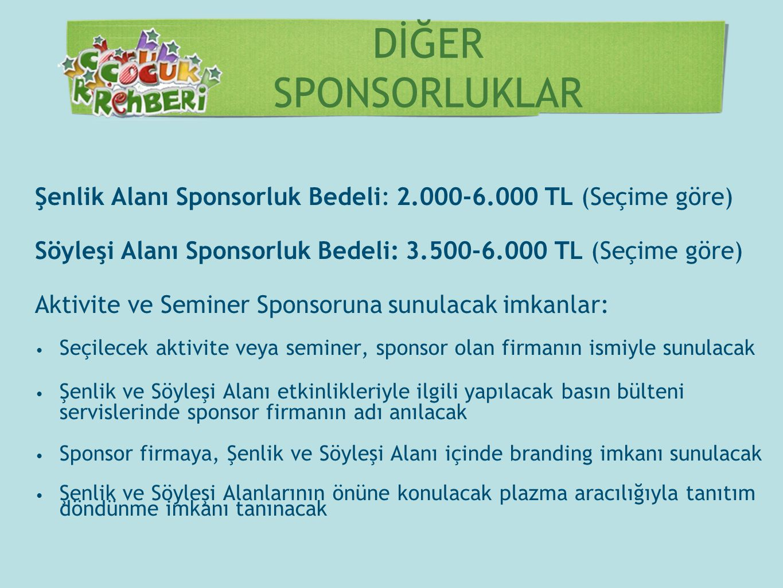 DİĞER SPONSORLUKLAR Şenlik Alanı Sponsorluk Bedeli: 2.000-6.000 TL (Seçime göre) Söyleşi Alanı Sponsorluk Bedeli: 3.500-6.000 TL (Seçime göre)