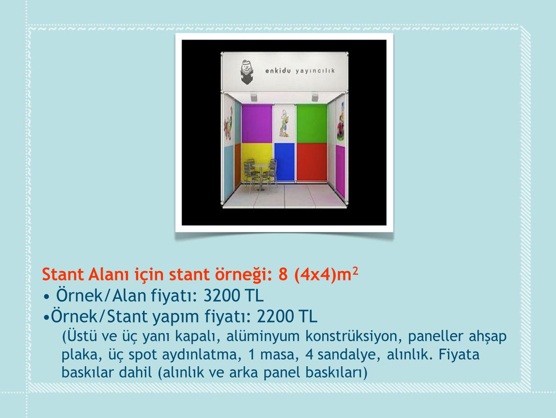Stant Alanı için stant örneği: 8 (4x4)m2 Örnek/Alan fiyatı: 3200 TL