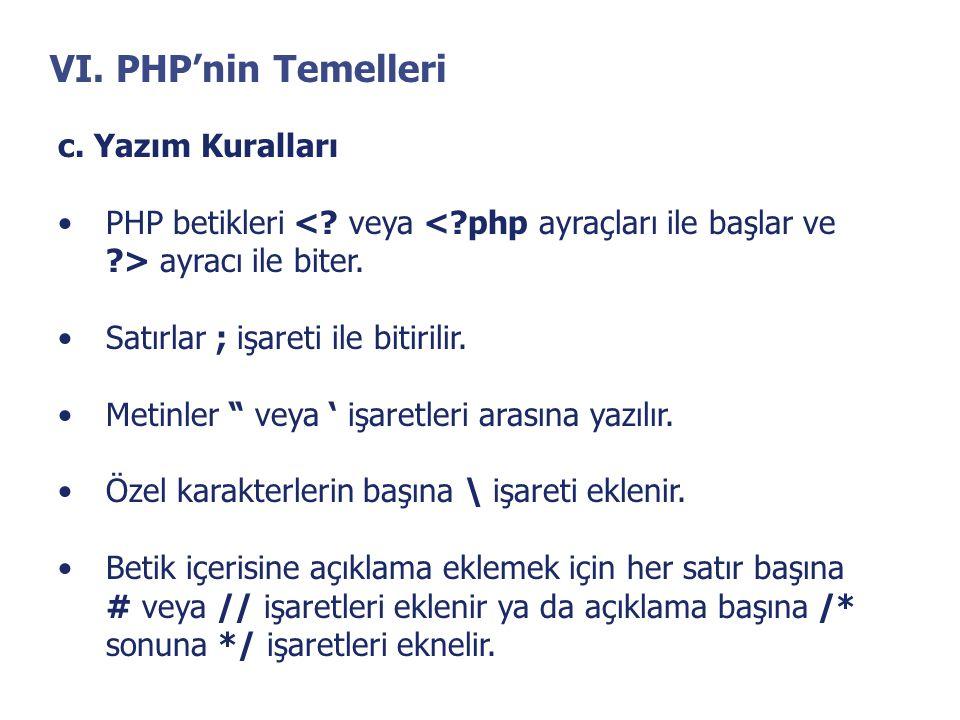 VI. PHP'nin Temelleri c. Yazım Kuralları