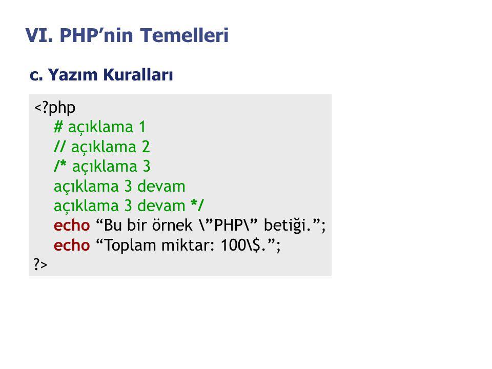 VI. PHP'nin Temelleri c. Yazım Kuralları < php # açıklama 1