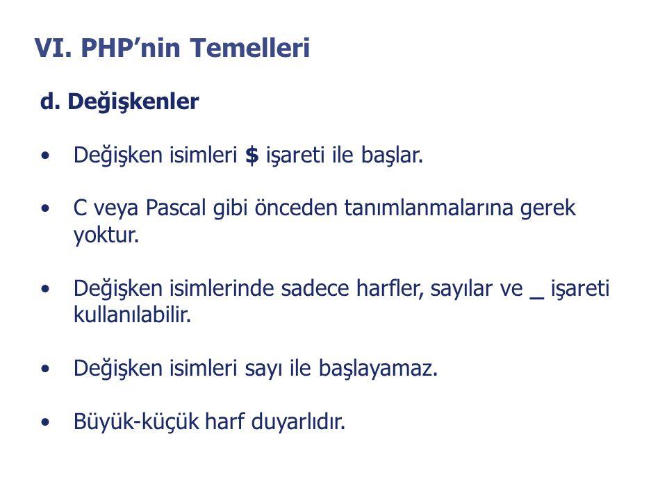 VI. PHP'nin Temelleri d. Değişkenler