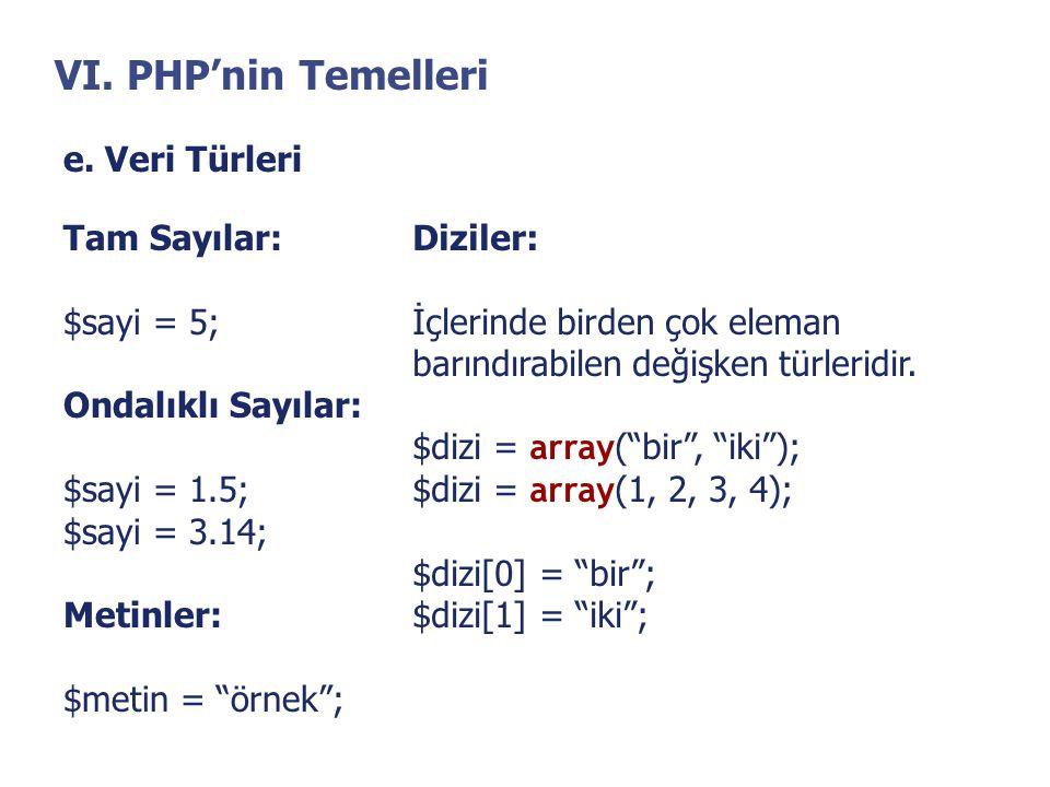 VI. PHP'nin Temelleri e. Veri Türleri Tam Sayılar: $sayi = 5;