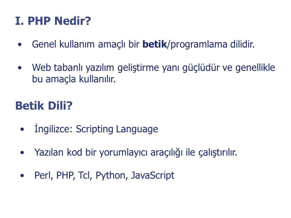 I. PHP Nedir Genel kullanım amaçlı bir betik/programlama dilidir. Web tabanlı yazılım geliştirme yanı güçlüdür ve genellikle.