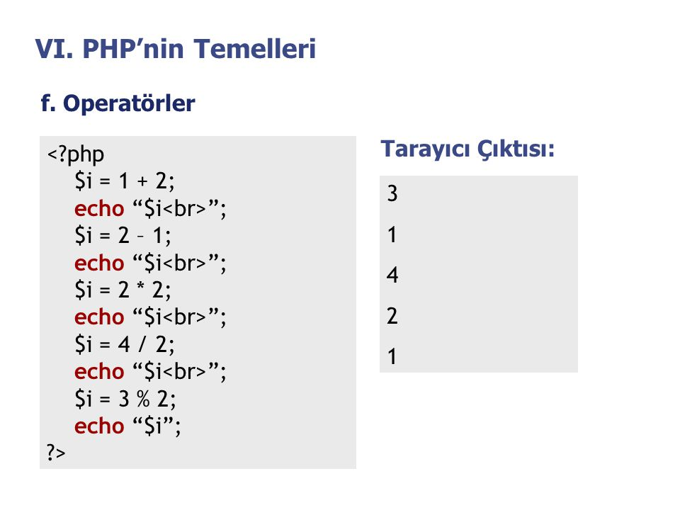 VI. PHP'nin Temelleri f. Operatörler Tarayıcı Çıktısı: < php