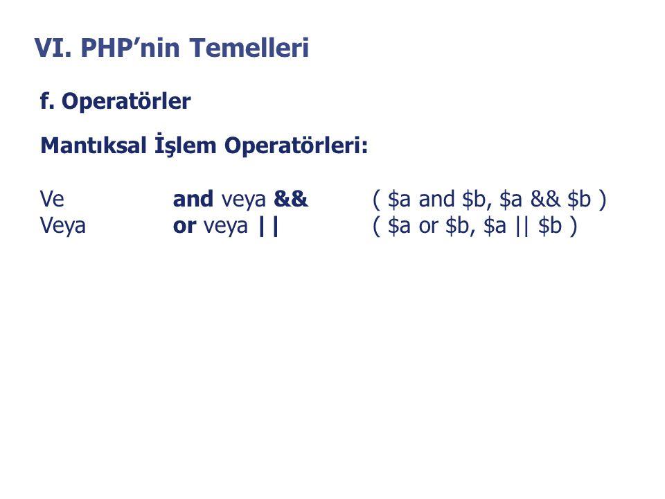 VI. PHP'nin Temelleri f. Operatörler Mantıksal İşlem Operatörleri: