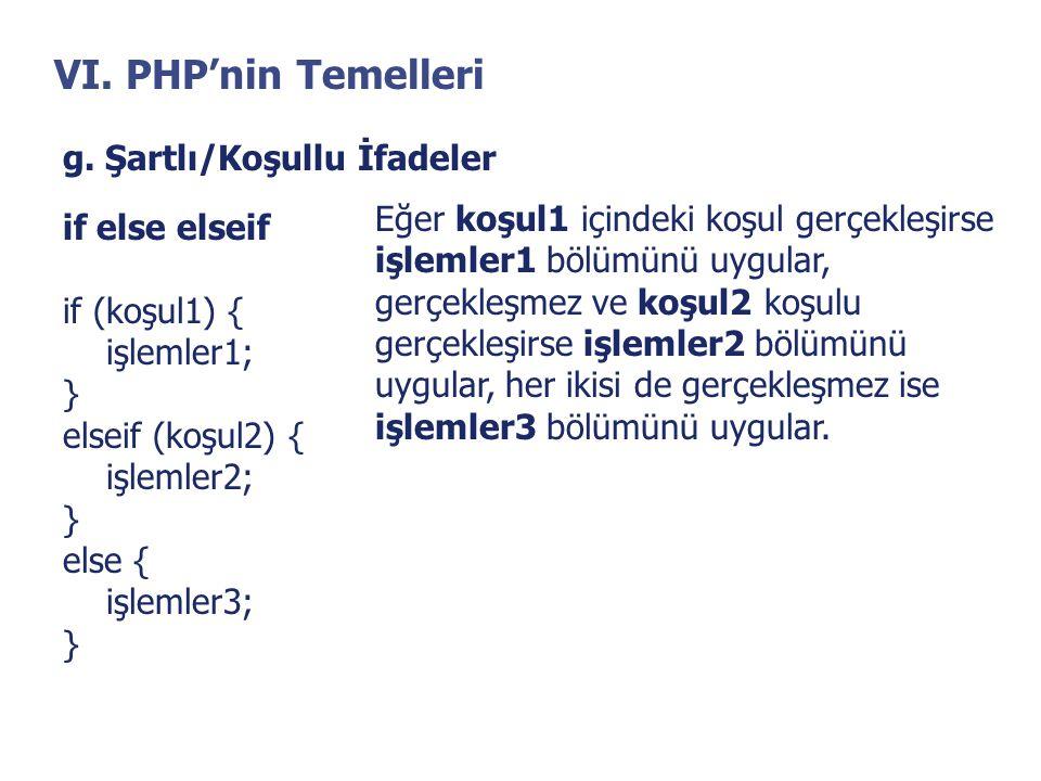 VI. PHP'nin Temelleri g. Şartlı/Koşullu İfadeler