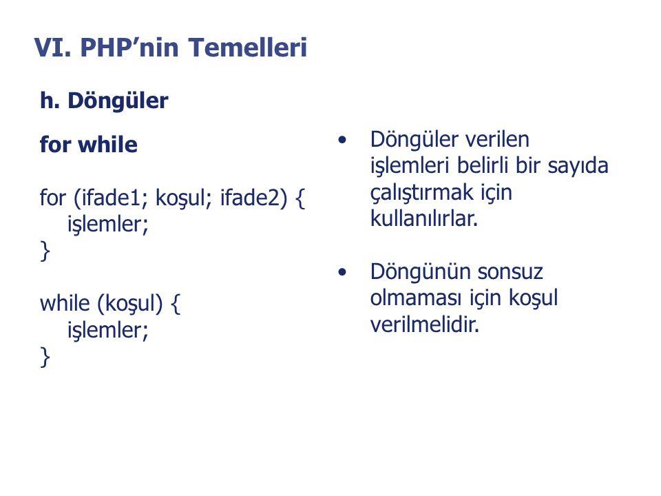 VI. PHP'nin Temelleri h. Döngüler
