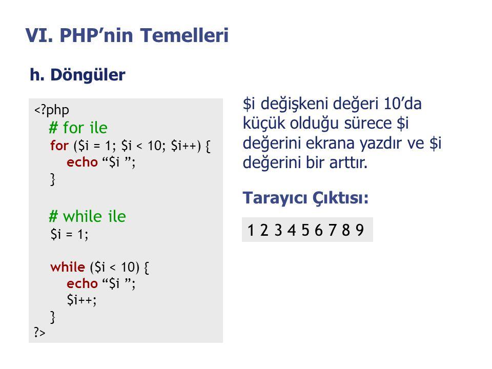VI. PHP'nin Temelleri h. Döngüler $i değişkeni değeri 10'da