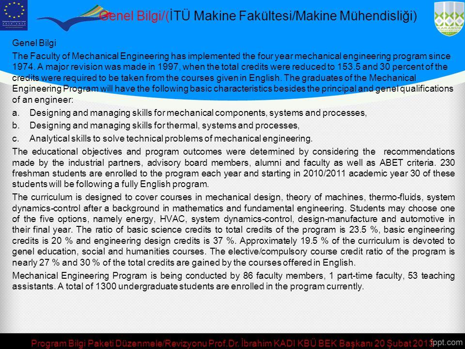 Genel Bilgi/(İTÜ Makine Fakültesi/Makine Mühendisliği)
