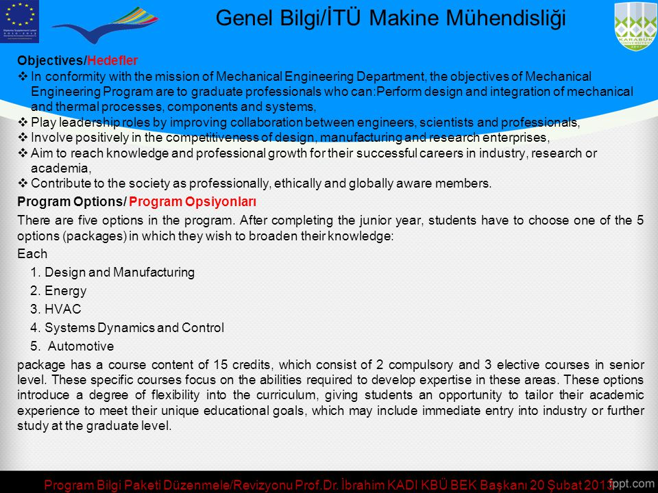 Genel Bilgi/İTÜ Makine Mühendisliği