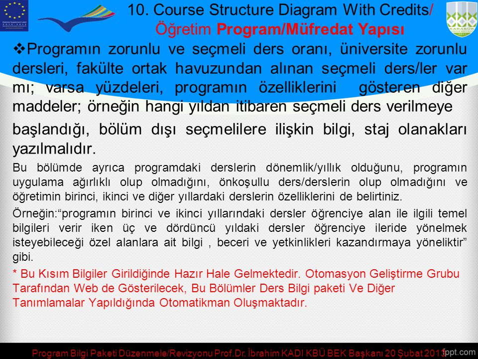 10. Course Structure Diagram With Credits/ Öğretim Program/Müfredat Yapısı