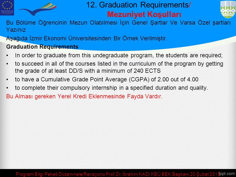 12. Graduation Requirements/ Mezuniyet Koşulları