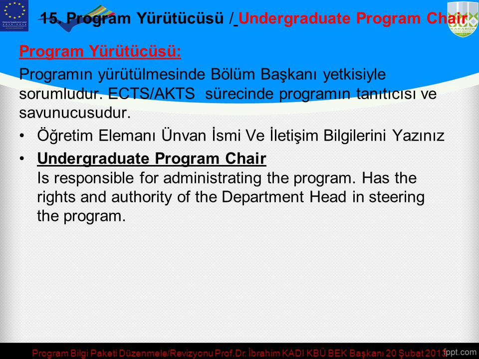 15. Program Yürütücüsü / Undergraduate Program Chair