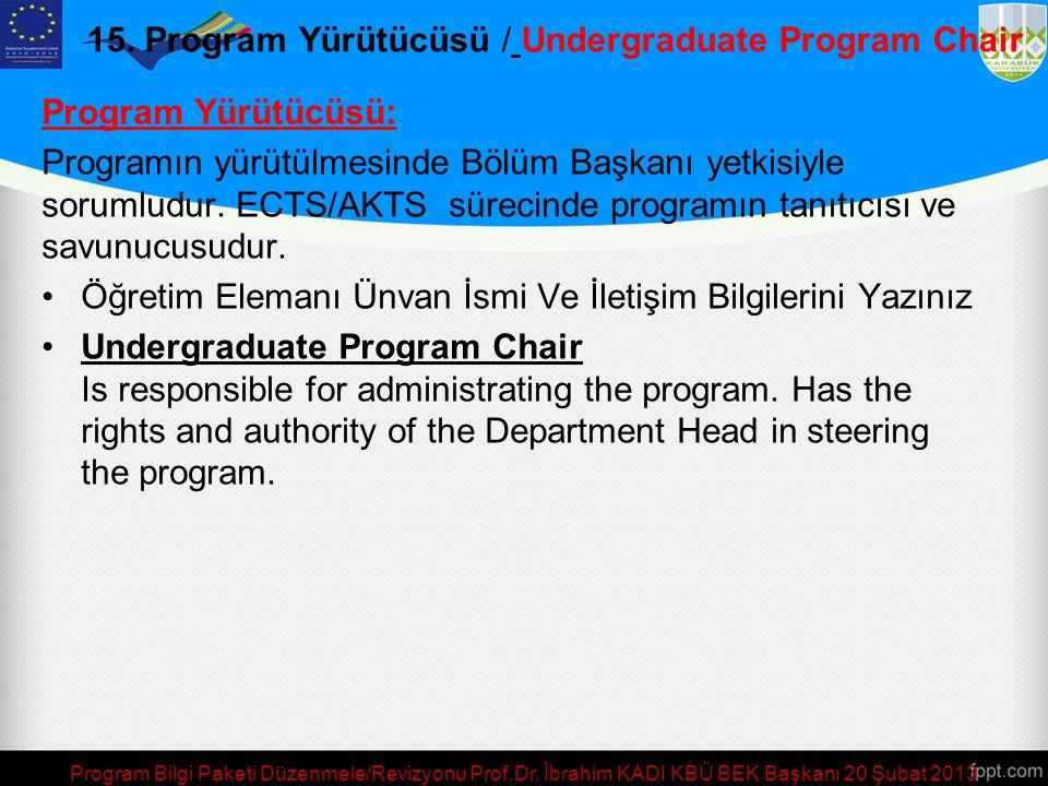 15. Program Yürütücüsü / Undergraduate Program Chair