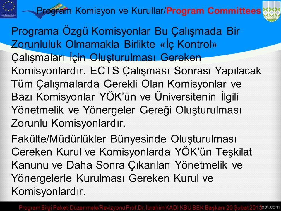 Program Komisyon ve Kurullar/Program Committees