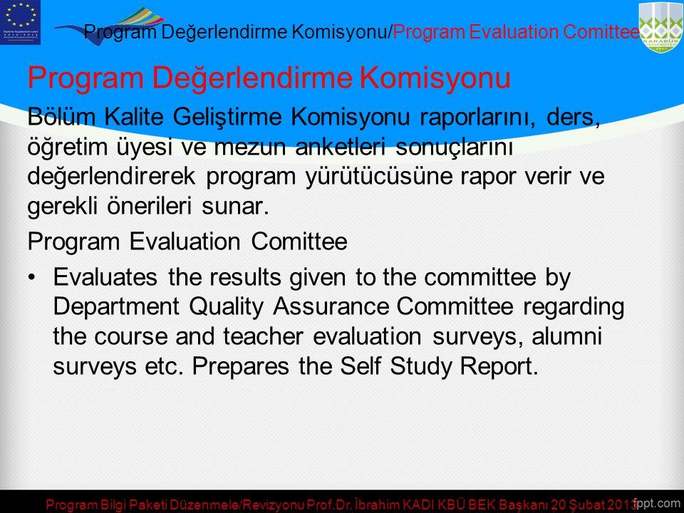 Program Değerlendirme Komisyonu/Program Evaluation Comittee