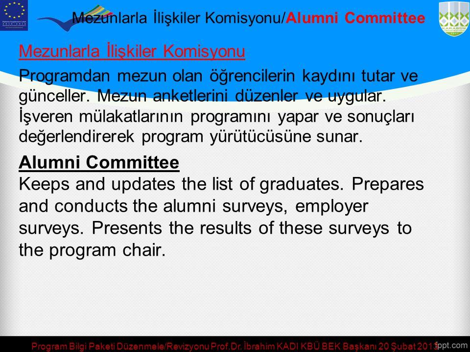 Mezunlarla İlişkiler Komisyonu/Alumni Committee