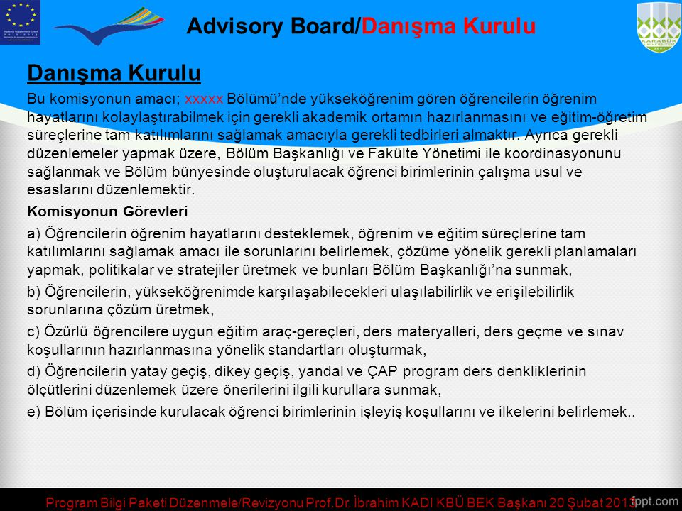 Advisory Board/Danışma Kurulu