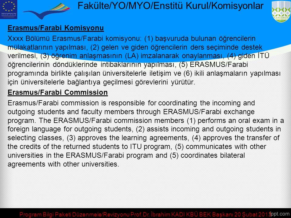 Fakülte/YO/MYO/Enstitü Kurul/Komisyonlar