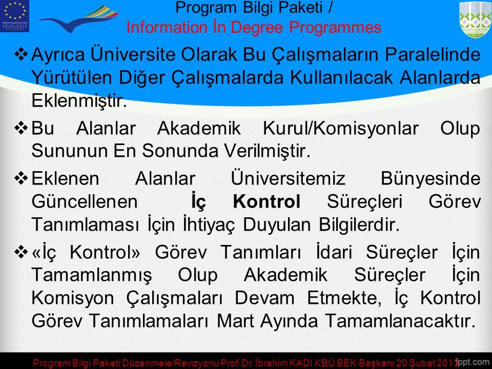 Program Bilgi Paketi / Information İn Degree Programmes