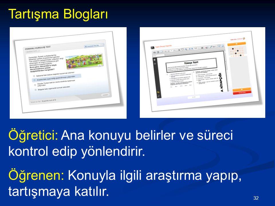 Tartışma Blogları Öğretici: Ana konuyu belirler ve süreci kontrol edip yönlendirir.