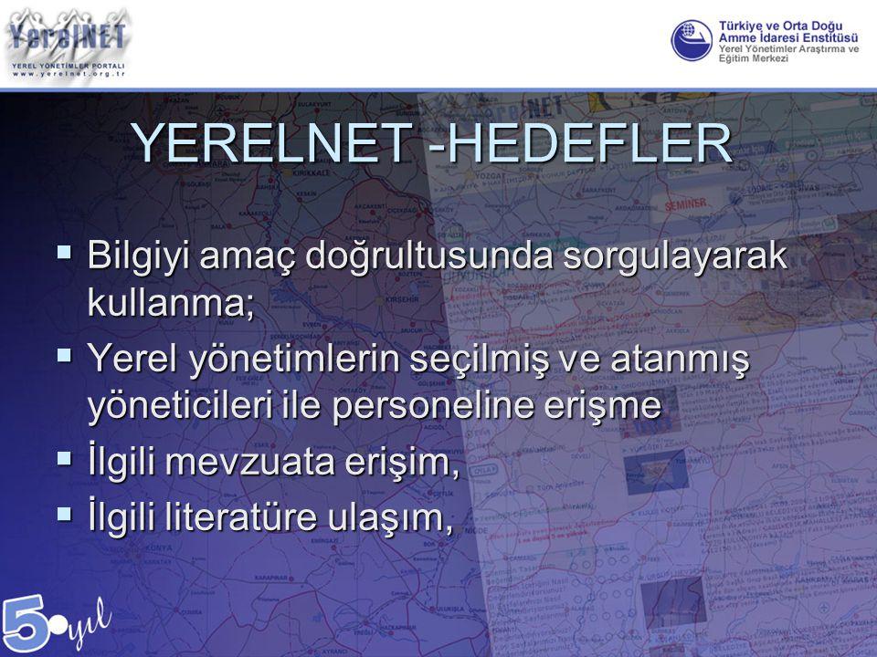 YERELNET -HEDEFLER Bilgiyi amaç doğrultusunda sorgulayarak kullanma;