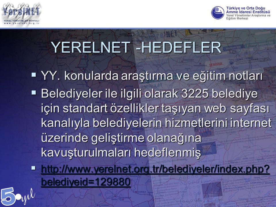YERELNET -HEDEFLER YY. konularda araştırma ve eğitim notları