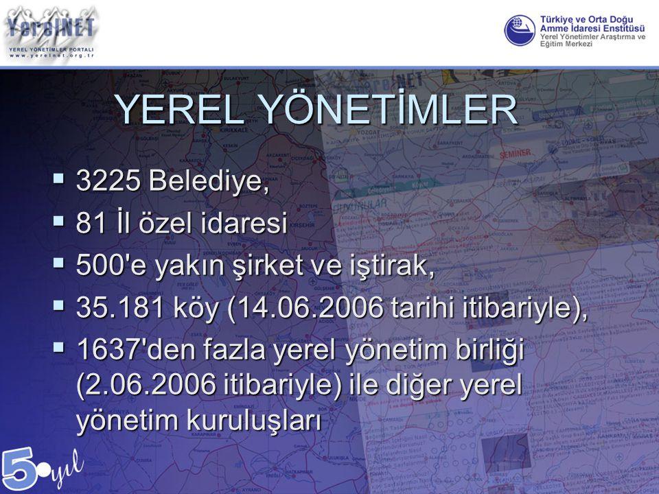 YEREL YÖNETİMLER 3225 Belediye, 81 İl özel idaresi