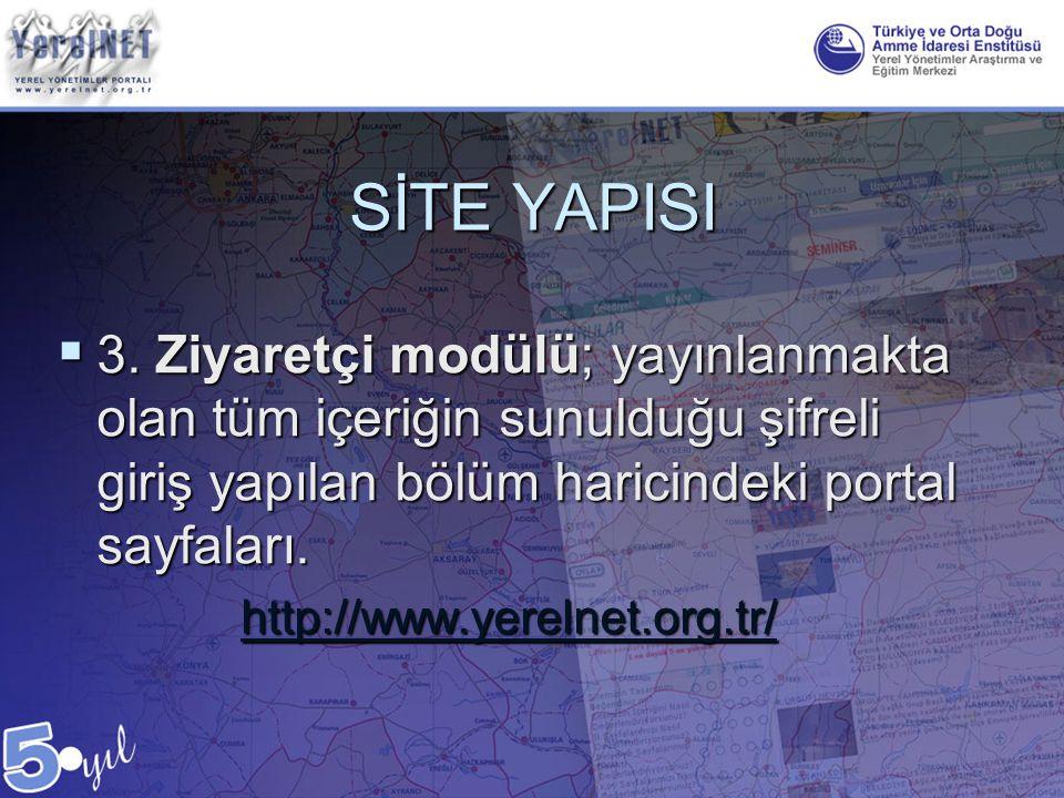 SİTE YAPISI 3. Ziyaretçi modülü; yayınlanmakta olan tüm içeriğin sunulduğu şifreli giriş yapılan bölüm haricindeki portal sayfaları.