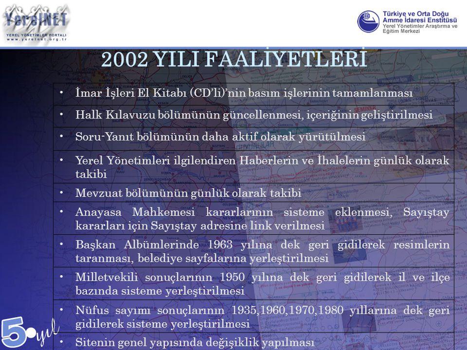 2002 YILI FAALİYETLERİ İmar İşleri El Kitabı (CD'li)'nin basım işlerinin tamamlanması.