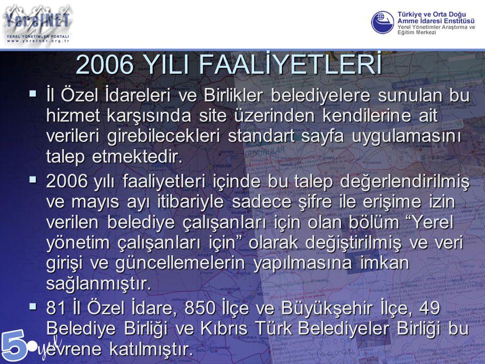 2006 YILI FAALİYETLERİ