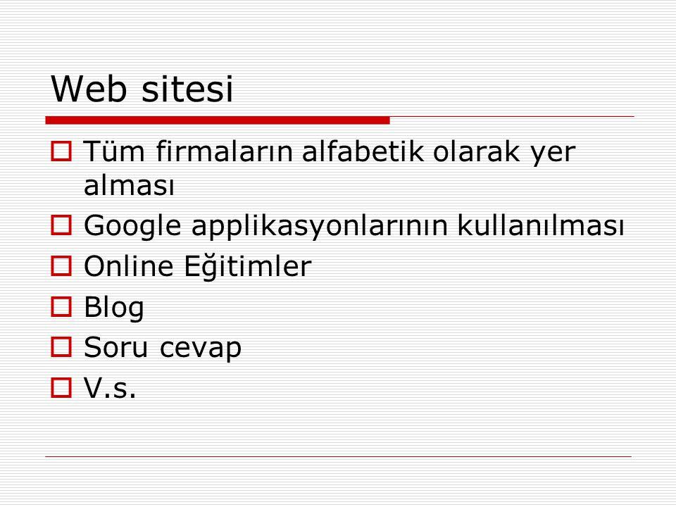 Web sitesi Tüm firmaların alfabetik olarak yer alması