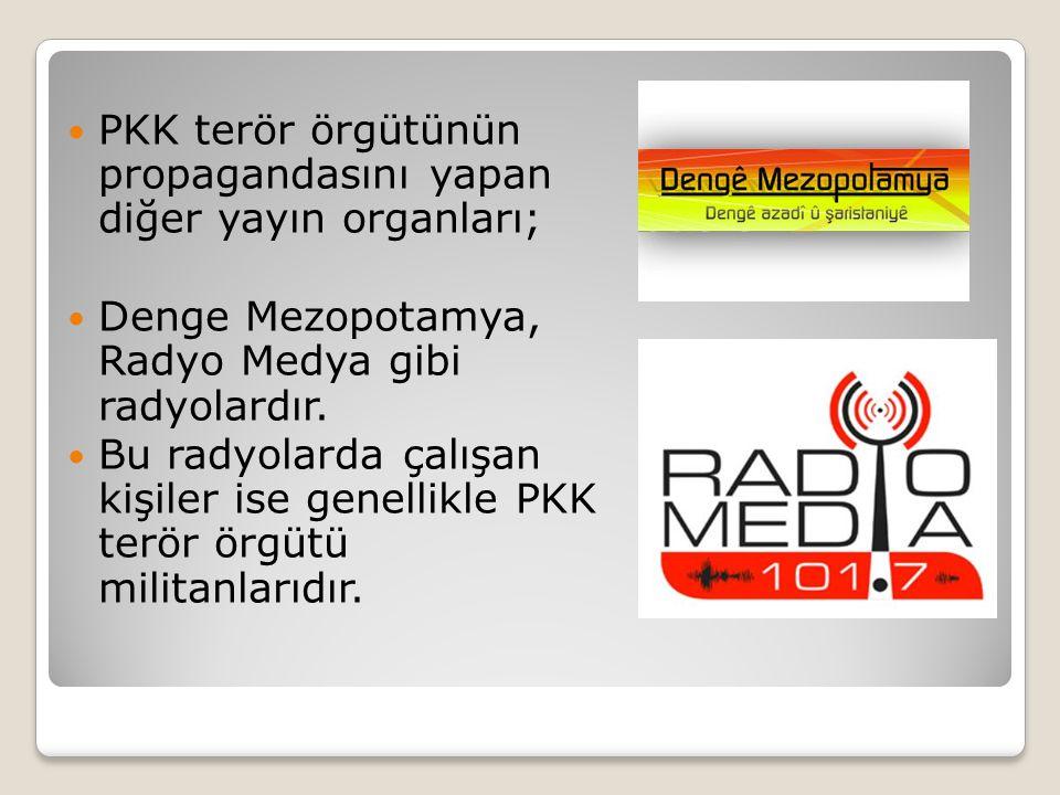 PKK terör örgütünün propagandasını yapan diğer yayın organları;