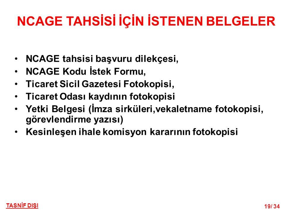 NCAGE TAHSİSİ İÇİN İSTENEN BELGELER