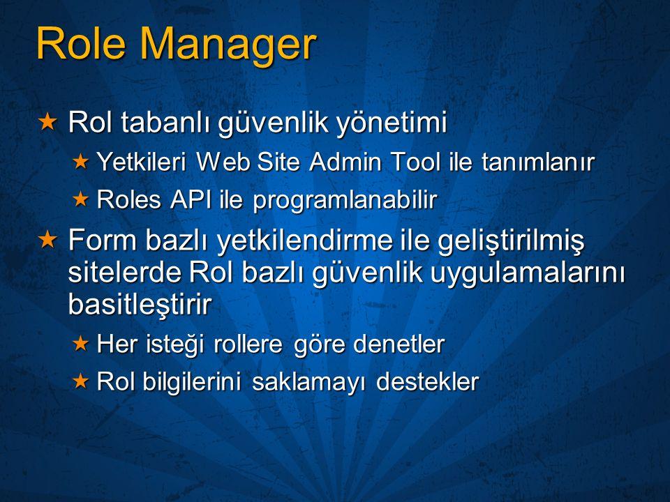 Role Manager Rol tabanlı güvenlik yönetimi