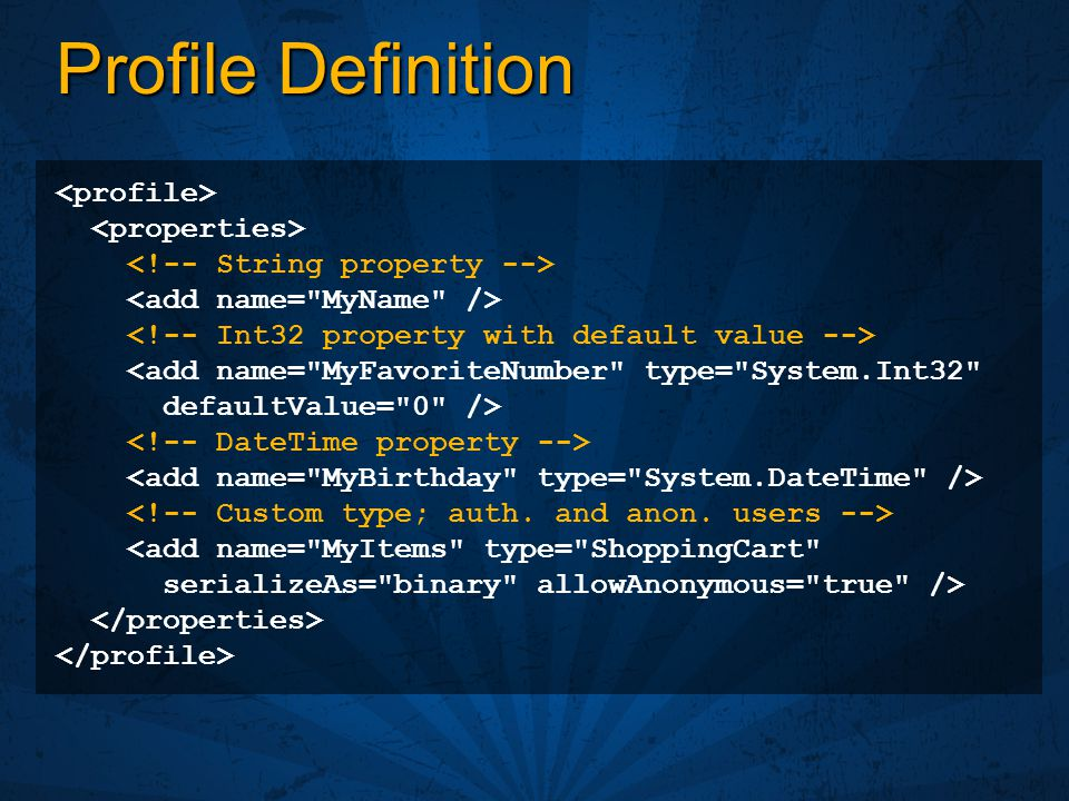 Profile Definition <profile> <properties>